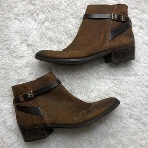 "Franco Sartos Leather ""Santos"" Brown Ankle Boots"